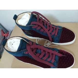 [Brand New] Christian Louboutin Sneakers Shoes Velvet Swarovski Crystals