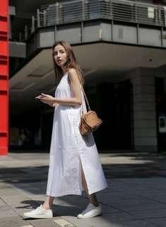Studiodoe 大口袋側開杈洋裝-白-F