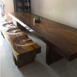 Indonesian Suar Wood Dining Table and Chair