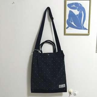 Dark navy polka dot diamond , two way tote bag