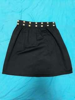 Black Skirt with gold studs