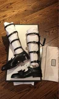 Gucci perforated knee-high shoes