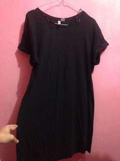 t shirt dress hitam h&m
