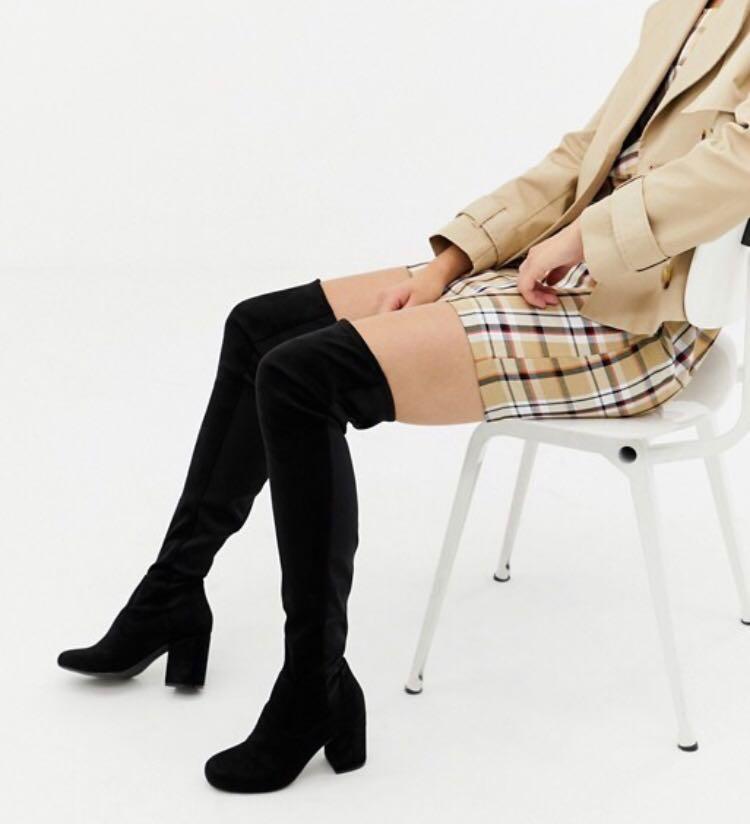 ddc12570169 ASOS Kadi Heeled Thigh High Boots Black