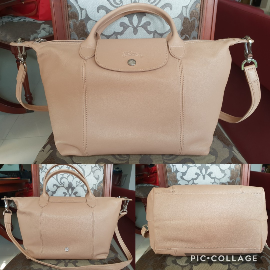 39378fd98c48 Limited Offer  Authentic Longchamp Golden Beige Le Pliage Cuir Small ...