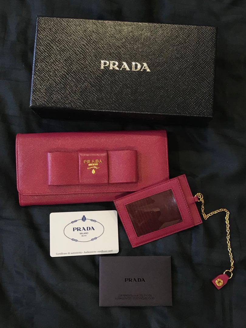 ffcc9b02d116 Authentic Prada Saffiano Fiocco in Ibisco color wallet, Luxury, Bags &  Wallets, Wallets on Carousell