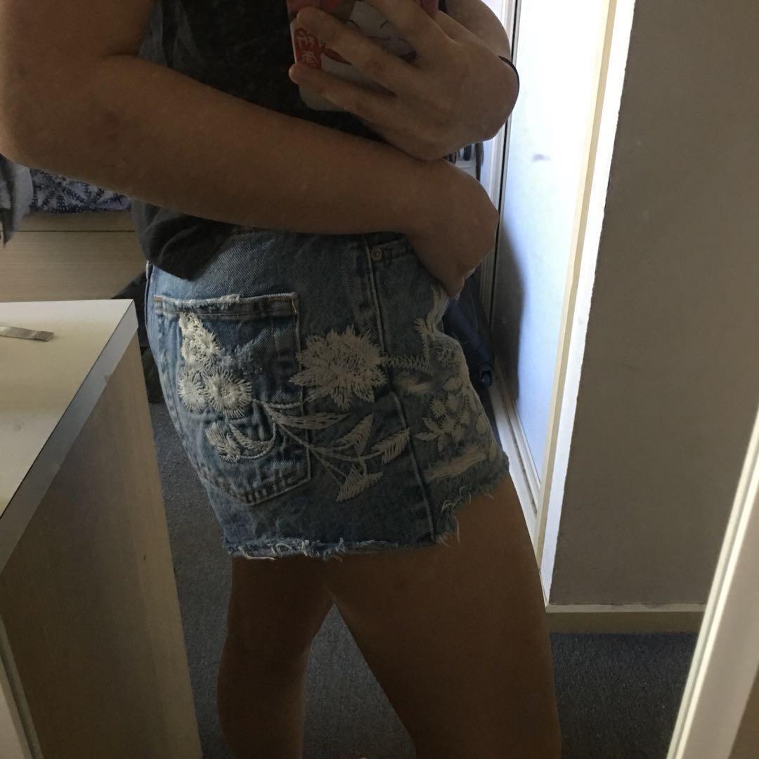 Bershka distressed denim shorts