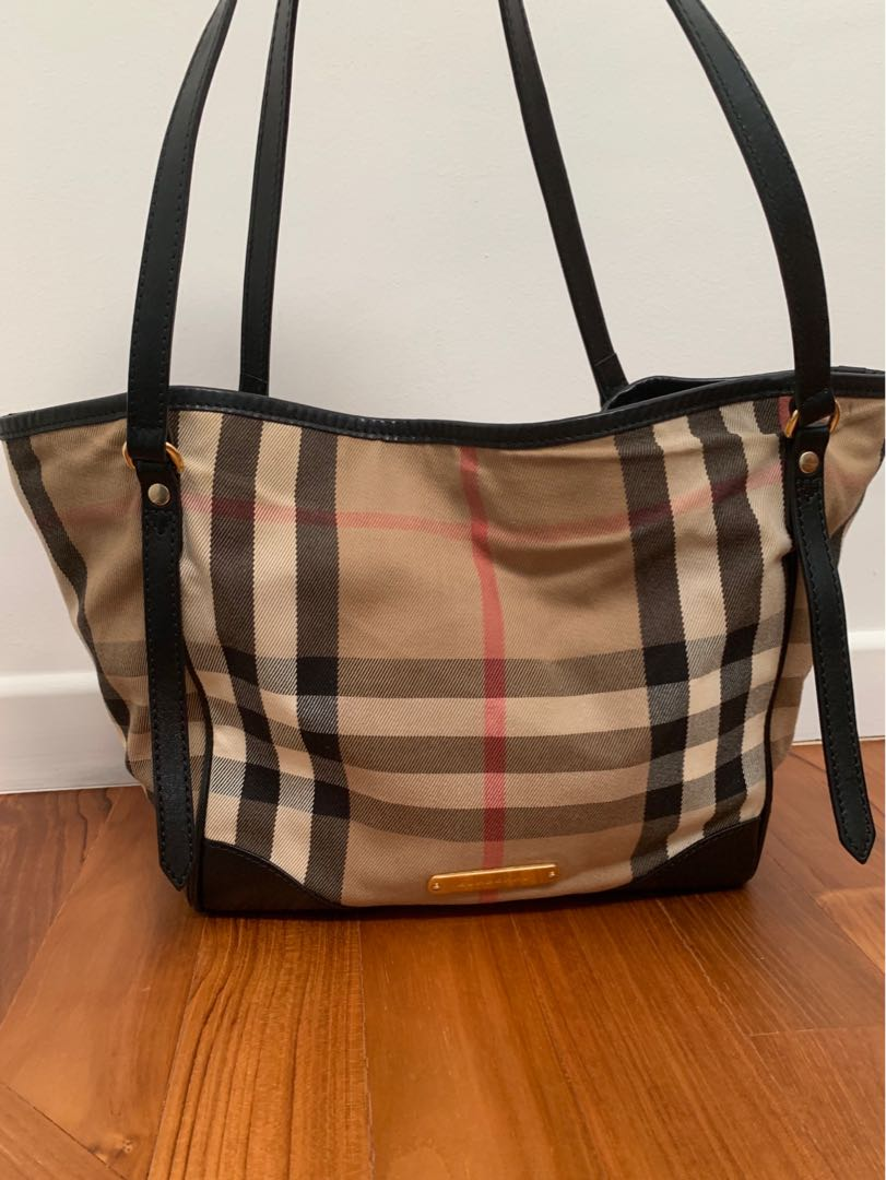9a38f8ec18b7 Burberry Bridle House Check small Canterbury black leather tote ...
