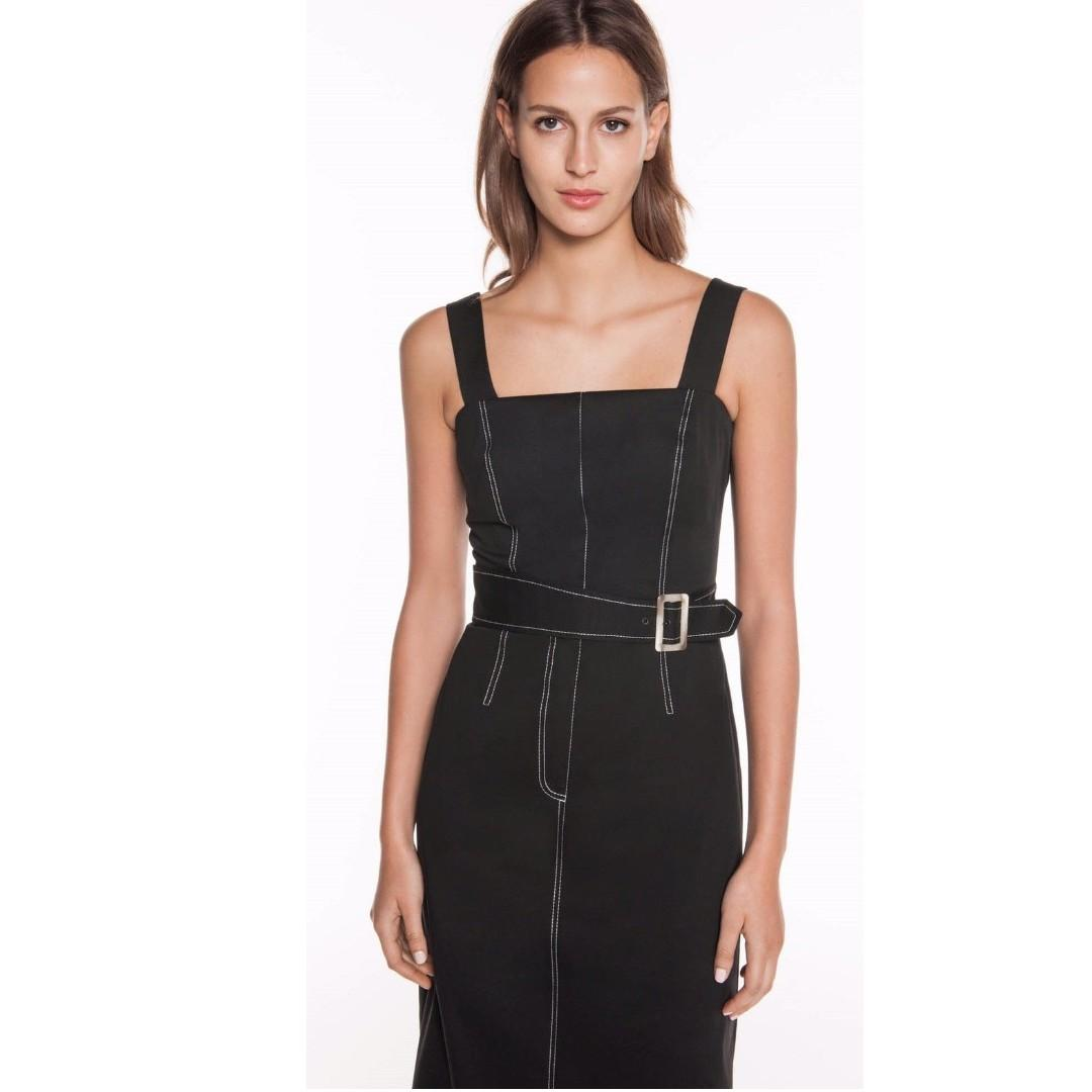 Cue Belted Topstitched Dress 8