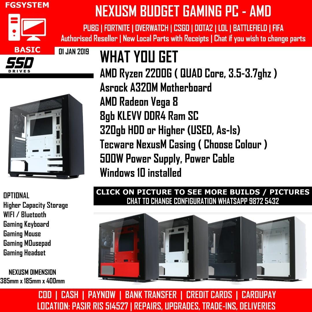 FGSYSTEMS AMD EYZEN 3 2200G 8gb ram Radeon Vega 8 TECWARE