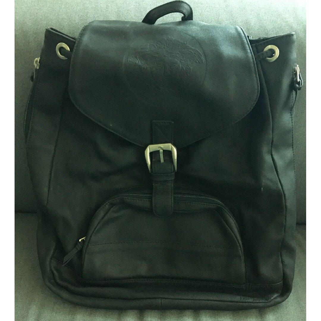 11c75230ef Gianni Versace Vintage BlackLeather Backpack embossed Medusa - 1990s ...