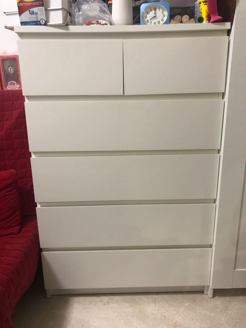 57d40adfd573 IKEA MALM Chest of 6 drawers, Furniture, Shelves & Drawers on Carousell