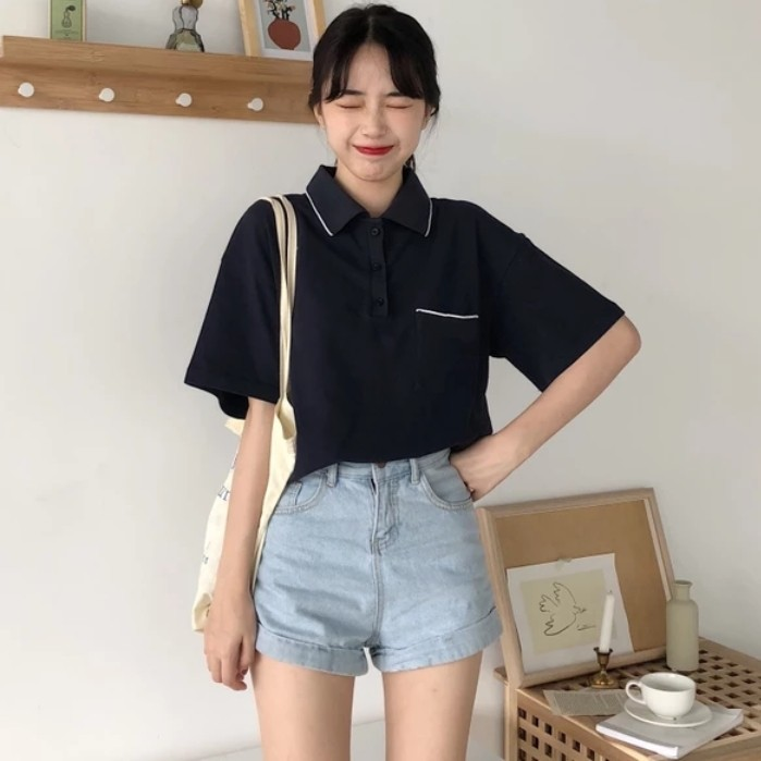 465fe952 INSTOCKS ulzzang vintage oversized polo t shirt navy dark blue casual wear  white outline collar top tee, Women's Fashion, Clothes, Tops on Carousell