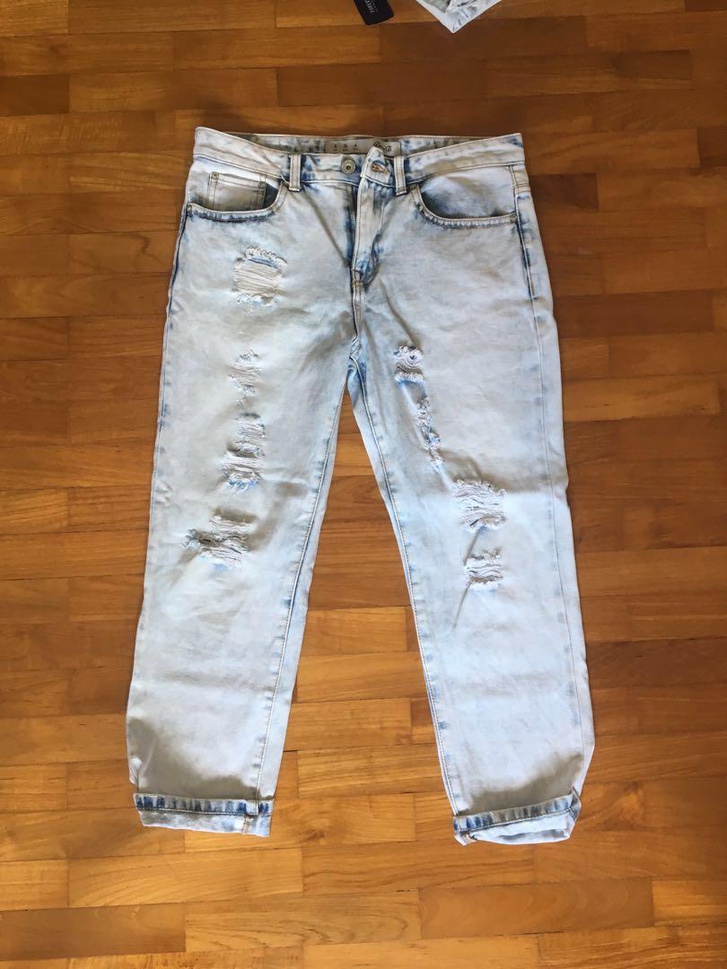 f531ba830e2 Light blue mum ripped Jeans, Women's Fashion, Clothes, Pants, Jeans ...