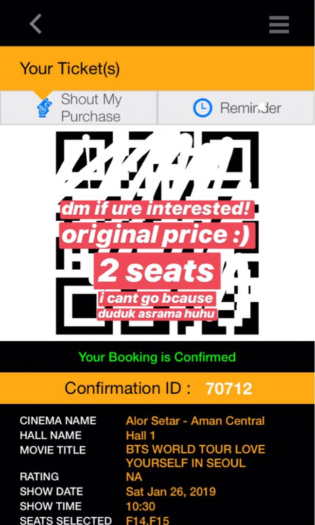 Love Yourself Seoul Cinema Ticket