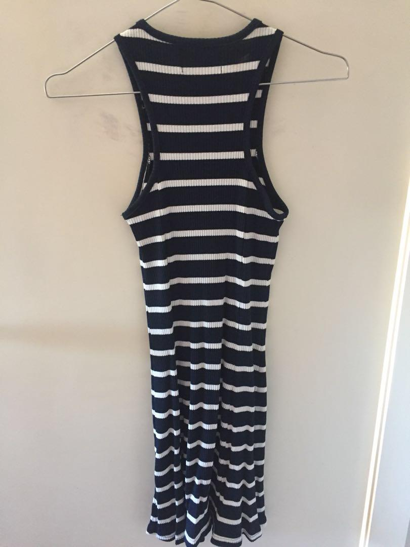 Minkpink Navy/White Striped Singlet Dress