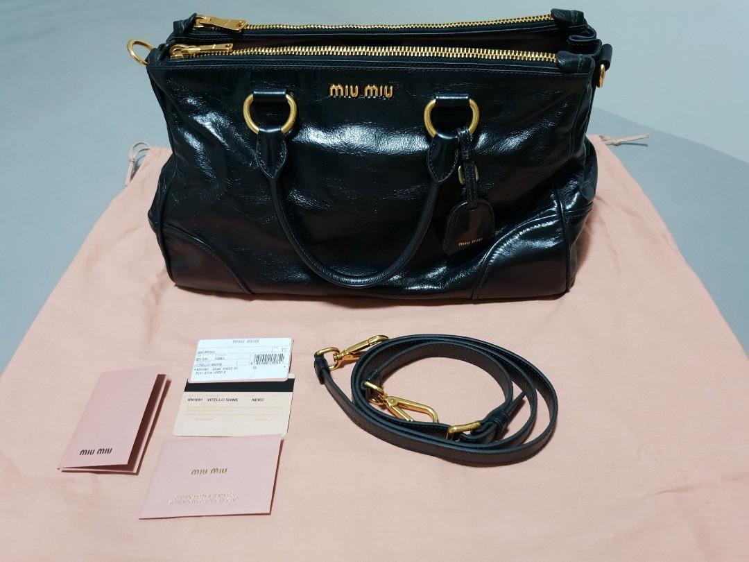 MIU MIU RN1091 vitello shine shopping satchel b1e004dab5ed1