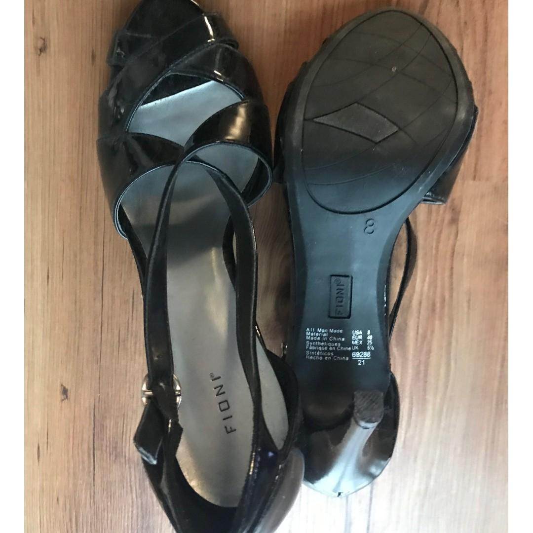 NEVER WORN FIONI Black Strappy Heels, peep toe,  size 8