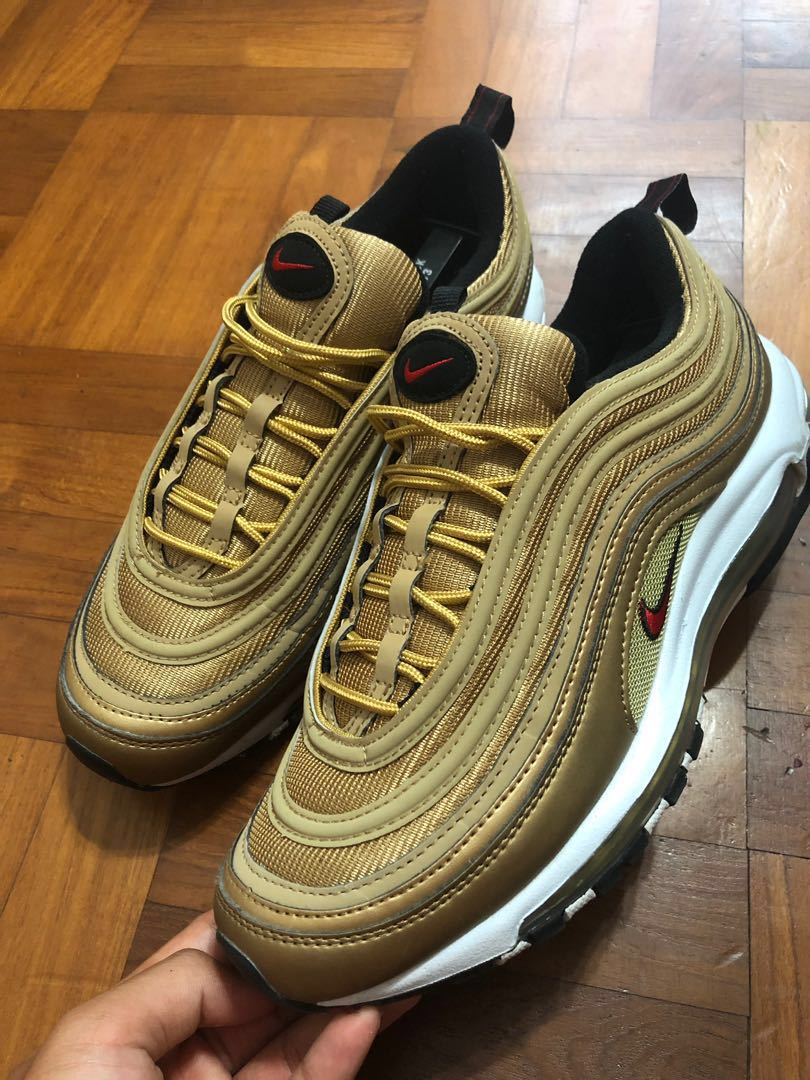 58571fe1fe Nike Air Max 97 gold, Men's Fashion, Footwear, Sneakers on Carousell