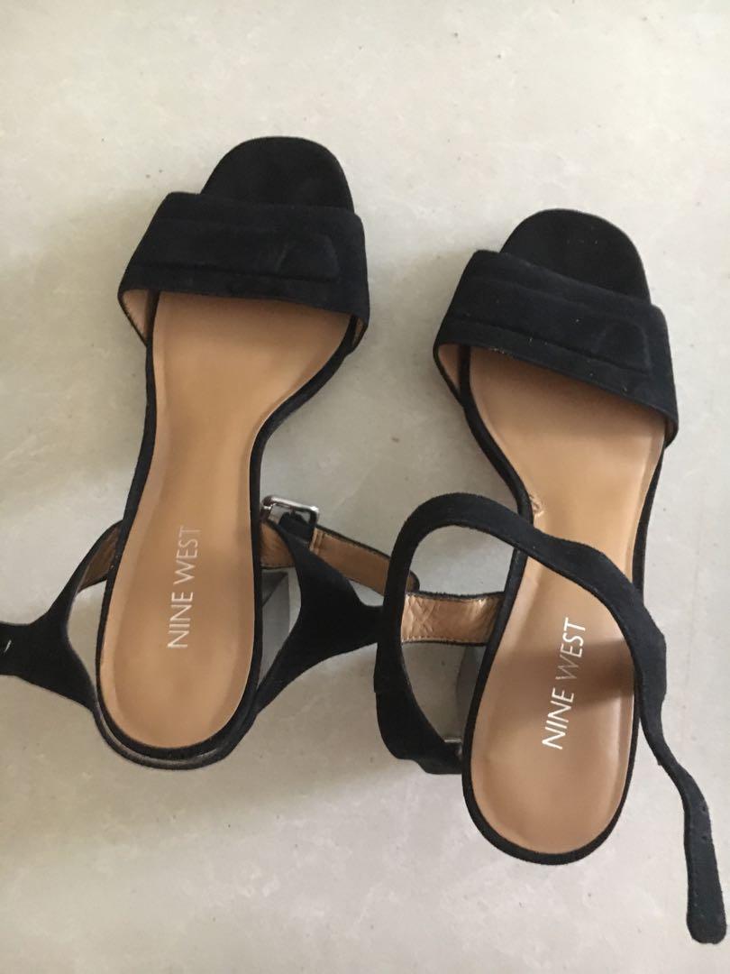 c6305f3af Nine West black suede block sandals, Women's Fashion, Shoes, Heels ...