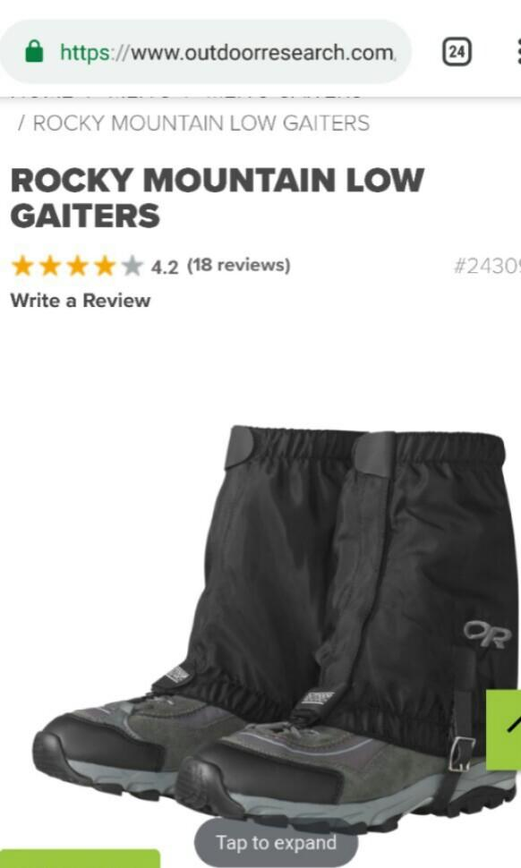 OR Outdoor Research ROCKY MOUNTAIN LOW GAITERS 行山 風雨泥擋 鞋套