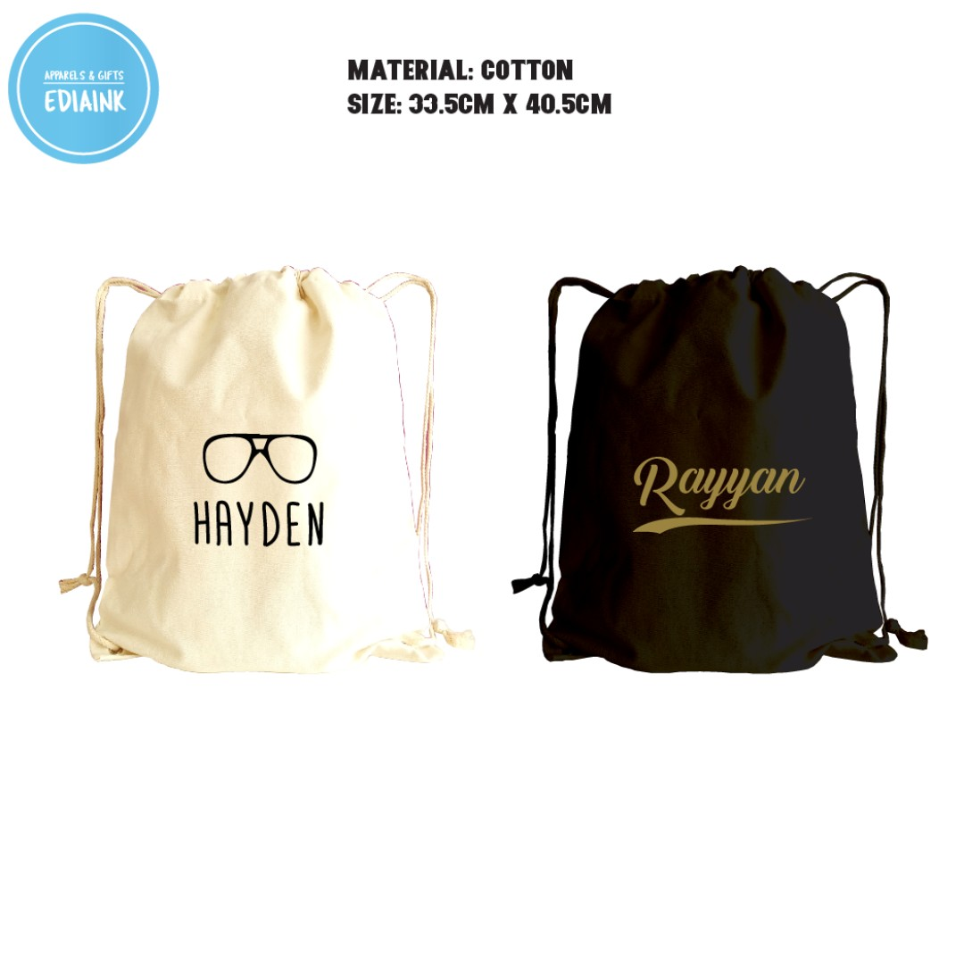 Plain and Personalized Drawstring Bag for school use 754ac8b74