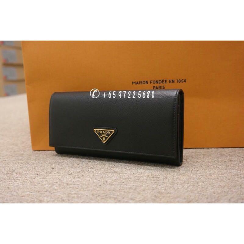 d048e4304e01a8 Prada Saffiano Triang Wallet Black 1MH132 QHH F0002, Luxury, Bags ...