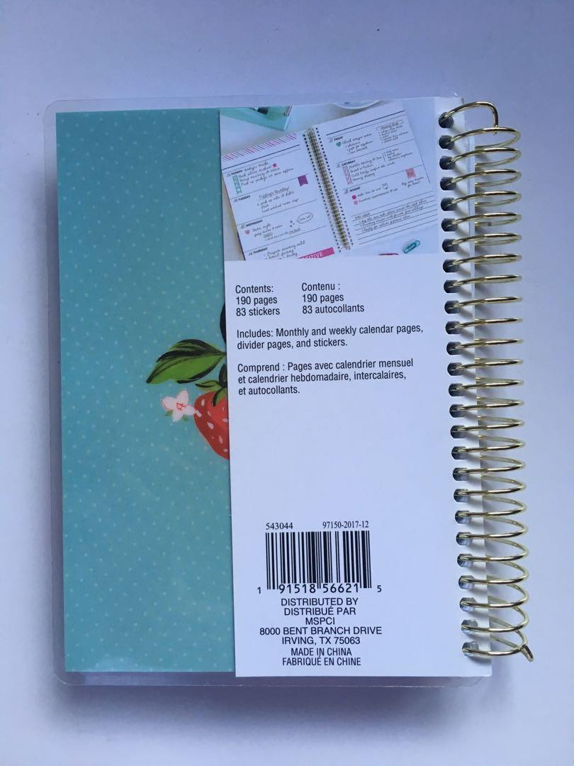 recollections mini 12 month spiral planner with horizontal weekly layout