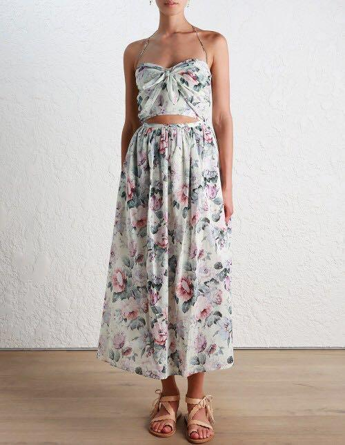 (SIZE 1 or SIZE 2) PRISTINE Zimmermann Jasper Floral Tie Dress
