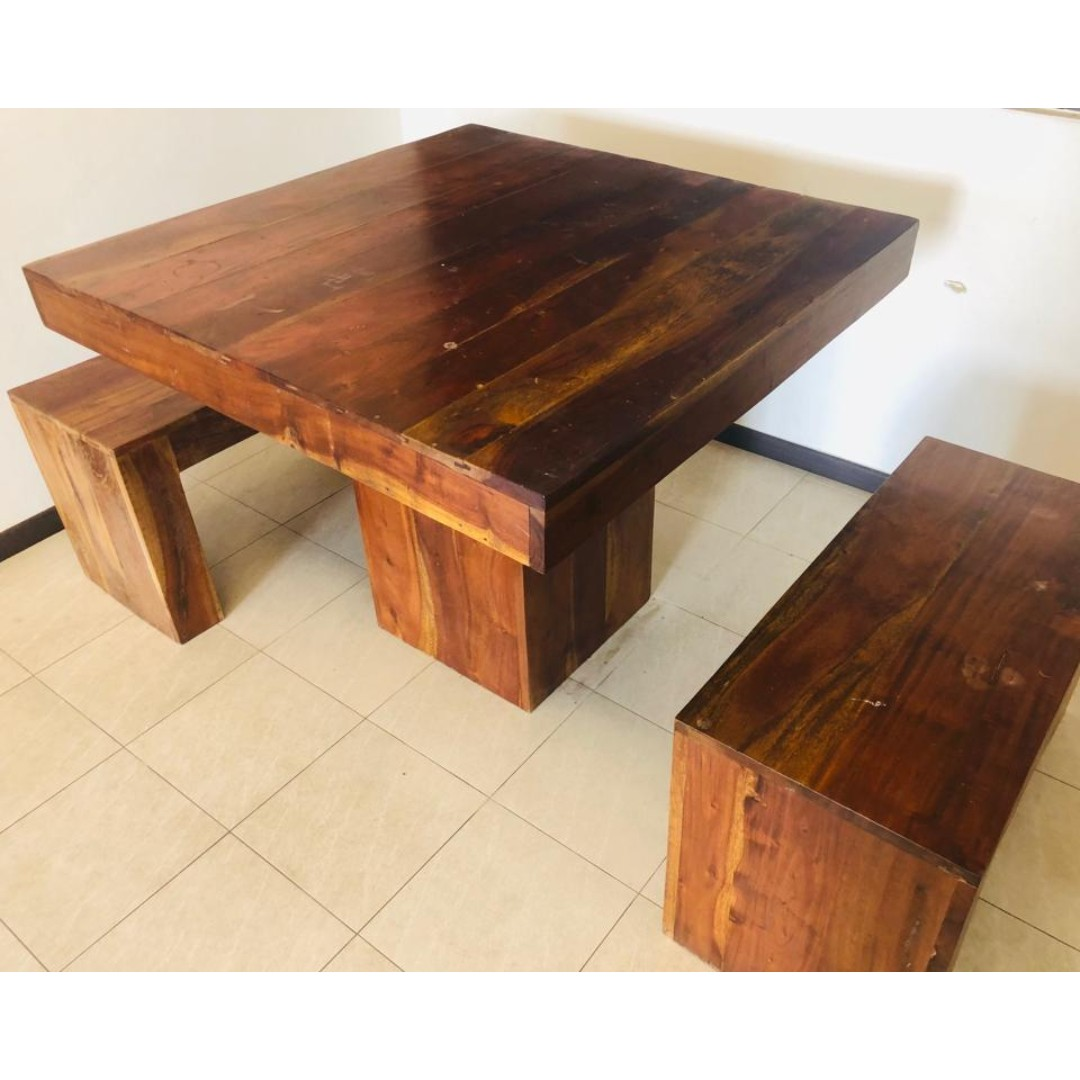 Solid Wood Table Amp Bench Dining Outdoor Study Furniture