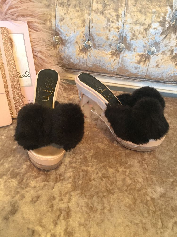 Swankiss faux fur fluffy black platform pink shoe heel