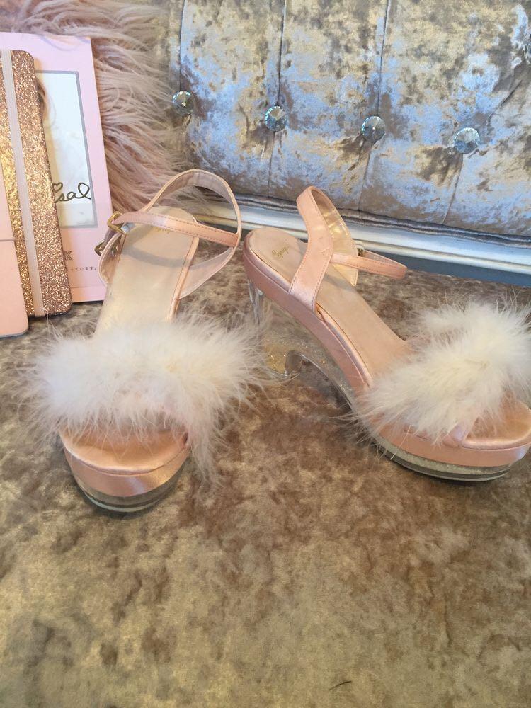 Swankiss pastel baby pink fluffy faux fur glitter platform heels
