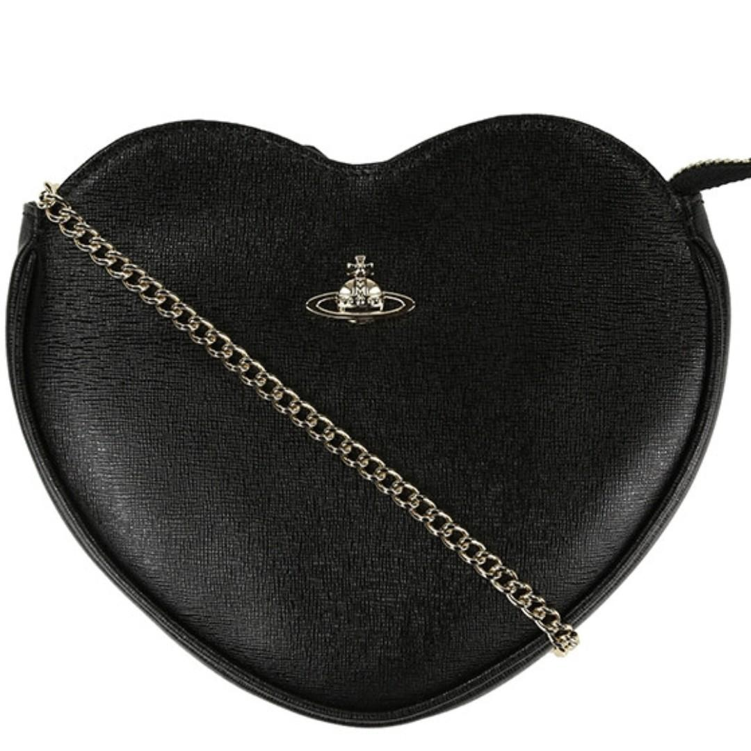 VIvienne Westwood Black Leather Mini Heart Bag Clutch Purse Made in Italy