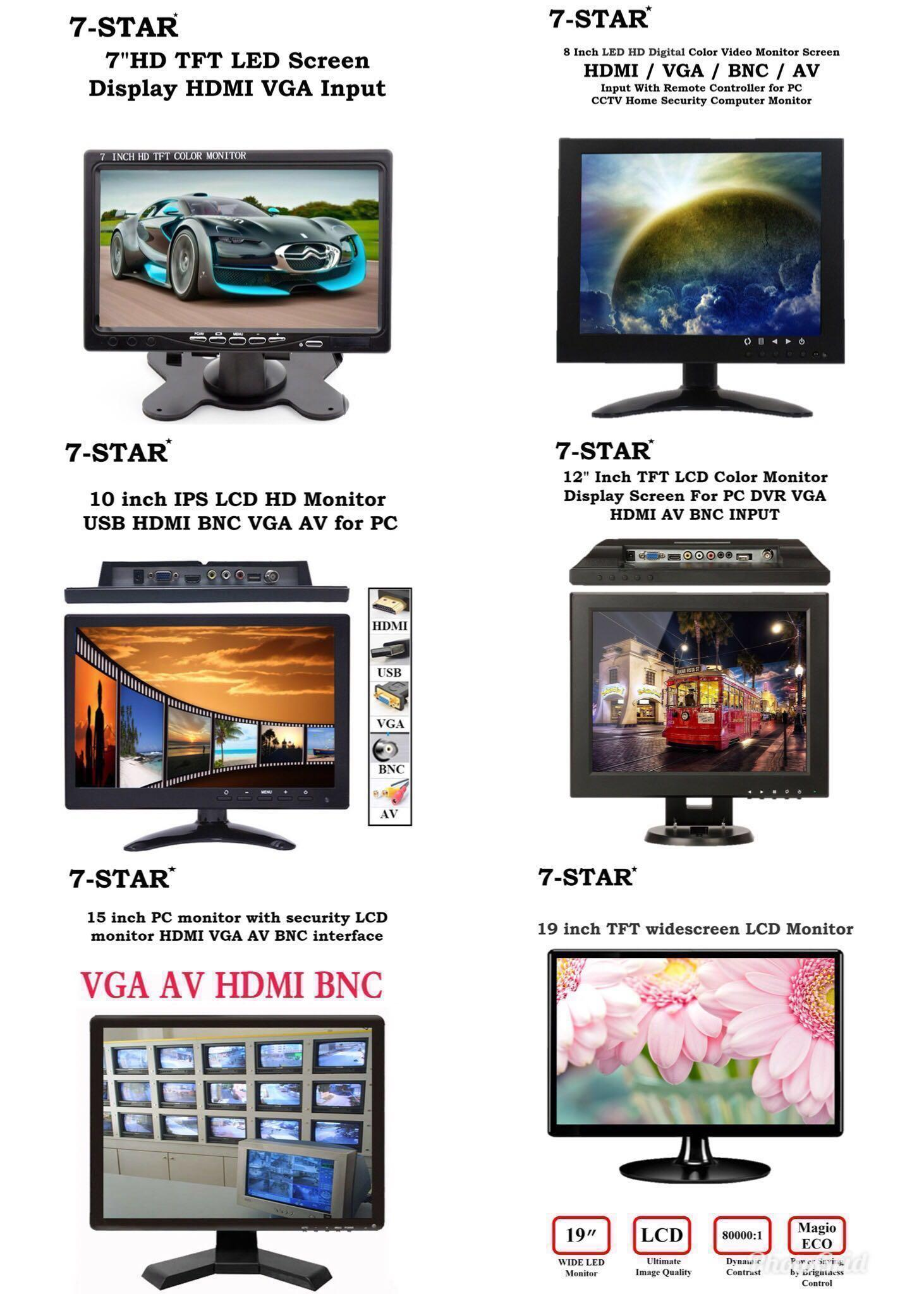 STB and Other Video Equipment 14 Inch LCD Security CCTV Monitor 1024x768 4:3 Resolution HD Color TFT LCD Display Screen with VGA//HDMI//AV//BNC//MIC USB Ports for Surveillance Camera Built-in Speaker