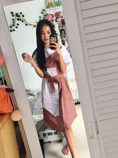 Dress strips merah putih lucu