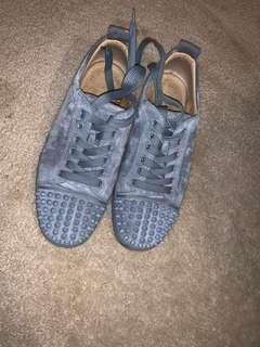 Gray suede Christian Loubotin sneakers