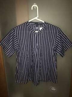 Uniqlo Cotton Skipper Short Sleeve Blouse/Top