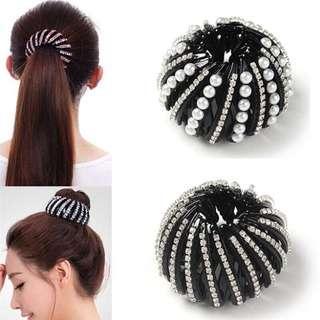 [PO] Round Crystal Rhinestone Hair Claw Tie Clip Clamp