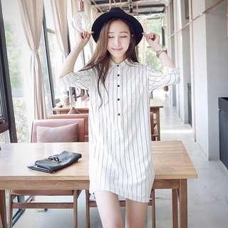 Vertical-striped white dress