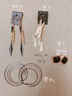 造型長耳環方形耳環