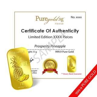 Singapore Pure Gold 1g PROSPERITY PINEAPPLE GOLD BAR