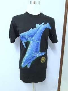 Vintage ikan paus over print 1994