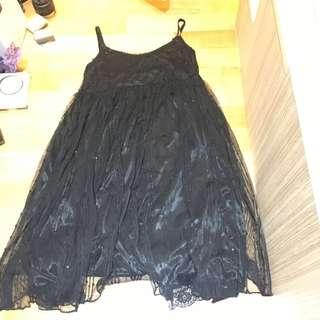 吊帶裙 黑色 小珠片