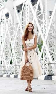 JOVELLE BUTTON DOWN DRESS WITH SASH #MADEBYLOVET (BEIGE)
