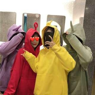 [PO] Teletubbies Hoodie Sweater Pullover Cute Korean Ulzzang Japanese Harajuku (Red/Yellow/Purple/Green)