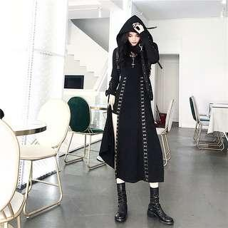 [PO] Black long dress with cross buckle slit skirt and Hoodie/Hooded/Hood Crop top ulzzang korean Japanese tweaking stylish chic gothic