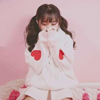 [PO] Pink/White Heart Sleeve Hoodie Sweater Pullover Cute Korean Ulzzang Harajuku Japanese