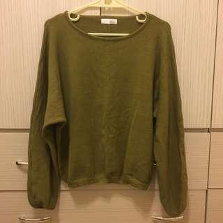 正韓草綠柔軟縮口袖針織上衣