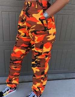 Orange Zumiez camo pants