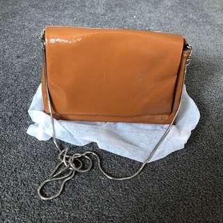 Enamel brown mini bag